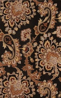 Paisley Floral Hand-Tufted Oriental 5x8 Black Wool Area Rug