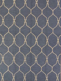 Hand-tufted Light Blue Trellis Oriental Area Rug 8x11