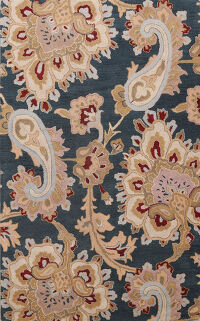 Paisley Charcoal Indian Oriental Area Rug 5x8