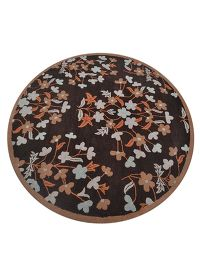 Nature Print Floral Hand-Tufted Round Oriental Rug 8x8