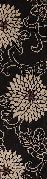 Transitional Floral Black/White Hand-Tufted Oriental Runner Rug 3x10