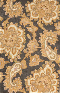 Hand-Tufted Paisley Charcoal Oushak Oriental Rug 3x5ft