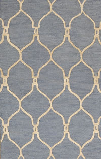 Hand-Tufted Light Blue Oushak Trellis Oriental Area Rug 3x5