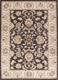 Hand-Tufted Classic All-Over Floral Mocha Brown Oriental Area Rug 8x11