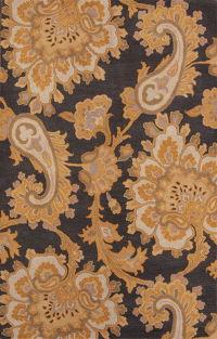 Floral Paisley Charcoal Oriental Area Rug 5x8