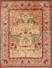 Antique Pictorial 9x12 Ravar Kerman Persian Area Rug