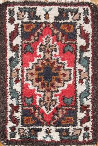 Geometric 1x2 Heriz Indian Oriental Area Rug