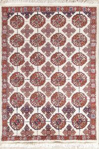 Geometric Ivory 4x5 Turkoman Persian Area Rug