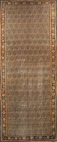 Pre-1900 Antique Senneh Bidjar Persian Vegetable Dye 7x17 Paisley Rug