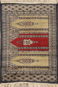Geometric Bokhara Pakistan Oriental Hand-Knotted 2x2 Wool Square Rug