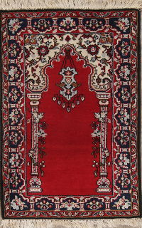 Geometric Anatolian Turkish Oriental Hand-Knotted 2x3 Wool Rug