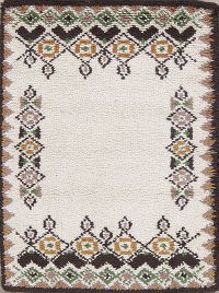 Ivory Geometric Rya Sweden Oriental Hand-Knotted 2x4 Wool Rug