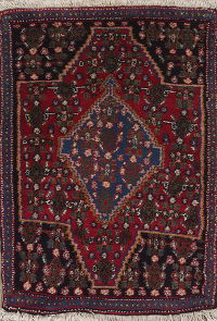 Geometric Red Senneh Bidjar Persian Hand-Knotted 2x3 Wool Rug