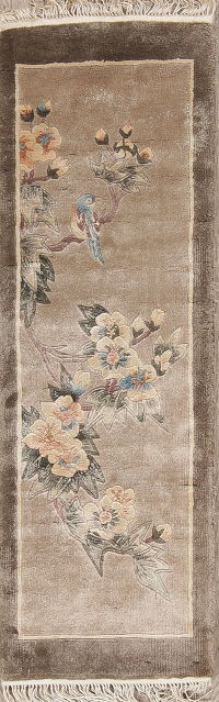Floral Art Deco Chinese Oriental Hand-Knotted 1x3 Silk Runner Rug