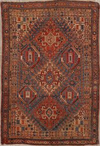 Pre-1900 Vegetable Dye Antique Qashqai Persian 5x7 Blue Area Rug