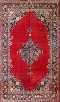 Vintage Traditional Floral  Kashan Persian Hand-Knotted 7x12 Area Rug