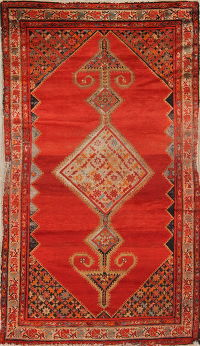 Pre-1900 Antique Bibikabad Persian Hand-Knotted 4x7 Wool Area Rug