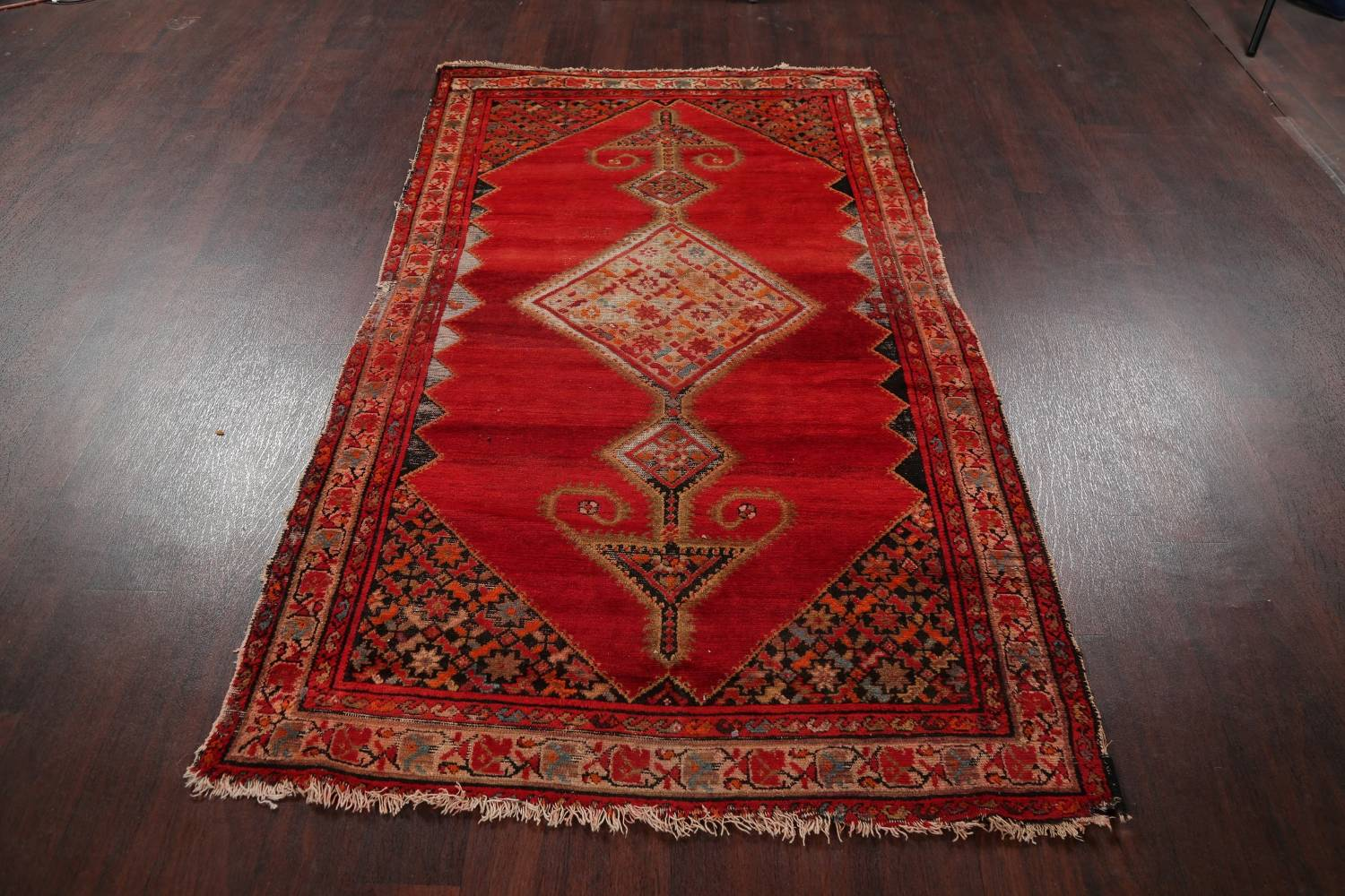 Pre-1900 Antique Bibikabad Persian Hand-Knotted 4x7 Wool Area Rug image 17