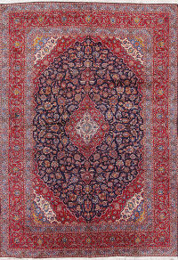 Large Navy Blue 10x15 Kashan Persian Area Rug