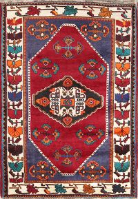 Hand-Knotted Tribal Qashqai Shiiraz Persian Area Rug Wool 4x6