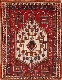 Antique Kazak Russian Oriental Hand-Knotted 4x6 Wool Area Rug