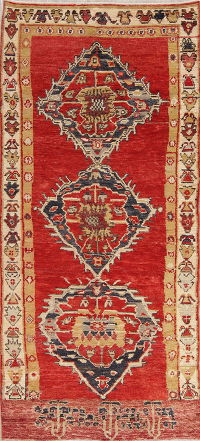 Geometric Oushak Turkish Oriental Hand-Knotted 5x10 Wool Runner Rug