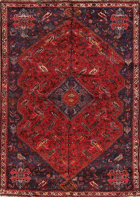 Animal Pictorial Abadeh Shiraz Persian Hand-Knotted 5x7 Wool Area Rug