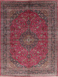 Traditional Floral Pink Kashmar Persian 10x13 Wool Area Rug