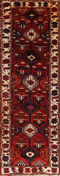 Geometric Red Lori Persian Hand-Knotted 5x13 Wool Runner Rug
