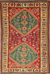 Vegetable Dye Qashqai Shiraz Persian Hand-Knotted 5x7 Wool Area Rug