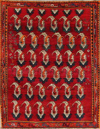 Paisley Shiraz Persian Hand-Knotted 6x7 Wool Area Rug