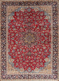 Floral Najafabad Isfahan Persian Hand-Knotted 9x13 Wool Area Rug