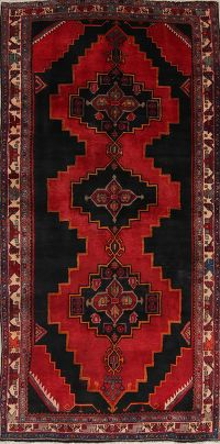 Geometric Meshkin Persian Hand-Knotted 5x10 Wool Runner Rug