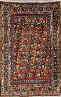 Geometric Kashkoli Shiraz Persian Hand-Knotted 5x8 Wool Area Rug