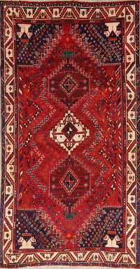 Tribal Abadeh Shiraz Persian Hand-Knotted 5x9 Wool Area Rug