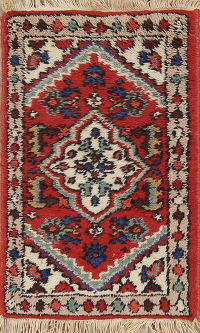 Geometric Red Heriz Indian Oriental Hand-Knotted 1x2 Wool Rug