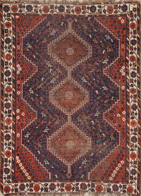 Pre-1900 Tribal Ghashghaei Persian Hand-Knotted 4x5 Wool Area Rug