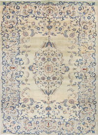 Floral Isfahan Persian Hand-Knotted 9x13 Wool Area Rug