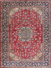 Floral Red Najafabad Isfahan Persian Hand-Knotted 10x13 Wool Area Rug