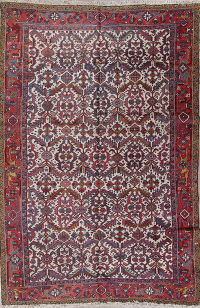 All-Over Geometric Heriz Persian Hand-Knotted 8x12 Wool Area Rug