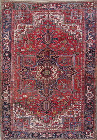 Red Heriz Serapi Persian Hand-Knotted 8x12 Wool Area Rug
