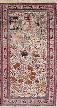 Vintage Animal Pictorial Agra Oriental Hand-Knotted 4x8 Wool Area Rug