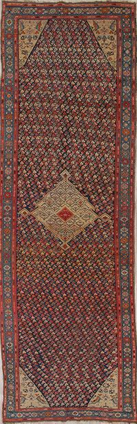 Pre-1900 Karabakh Bote Russian Oriental Hand-Knotted 5x16 Runner Rug