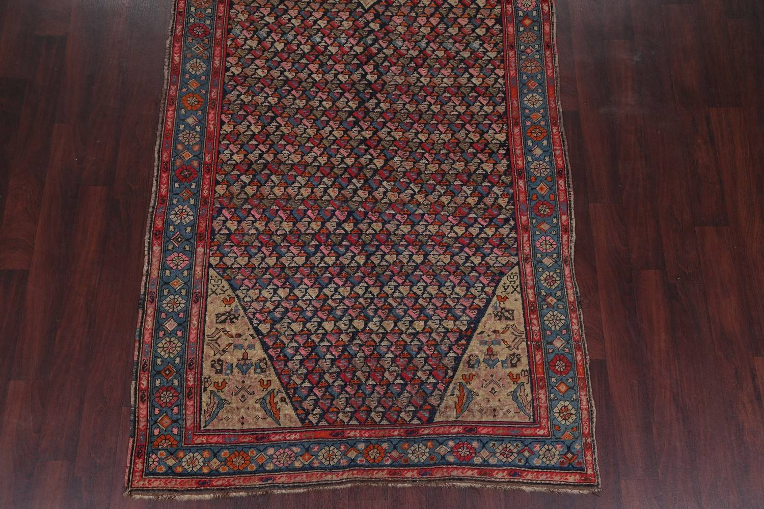 Pre-1900 Karabakh Bote Russian Oriental Hand-Knotted 5x16 Runner Rug image 5