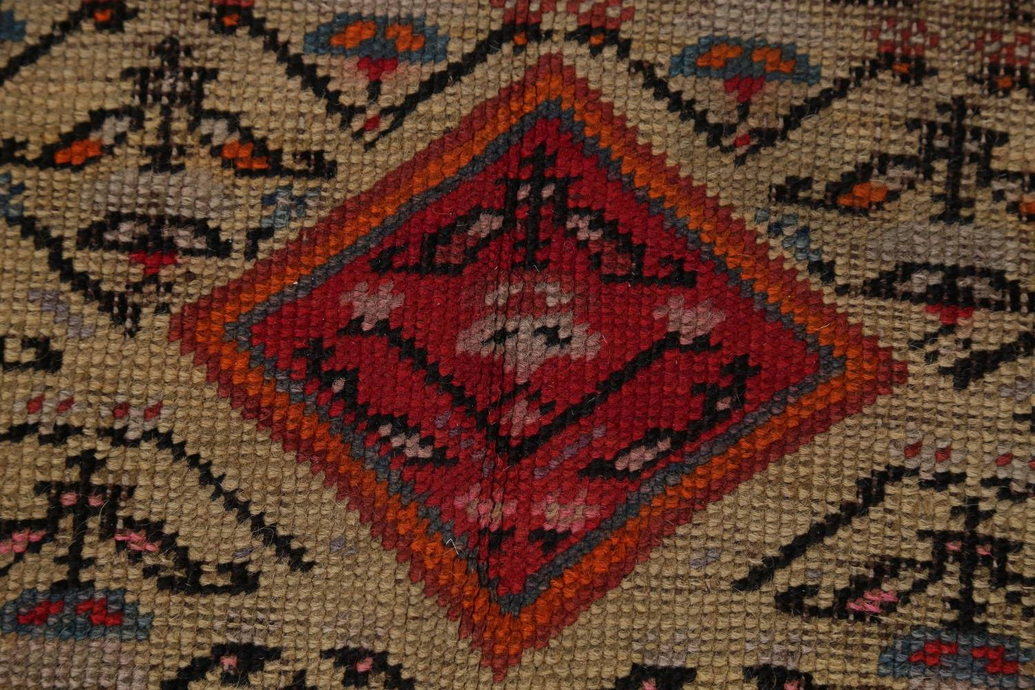 Pre-1900 Karabakh Bote Russian Oriental Hand-Knotted 5x16 Runner Rug image 10