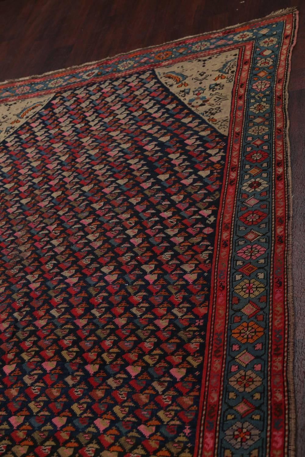 Pre-1900 Karabakh Bote Russian Oriental Hand-Knotted 5x16 Runner Rug image 15