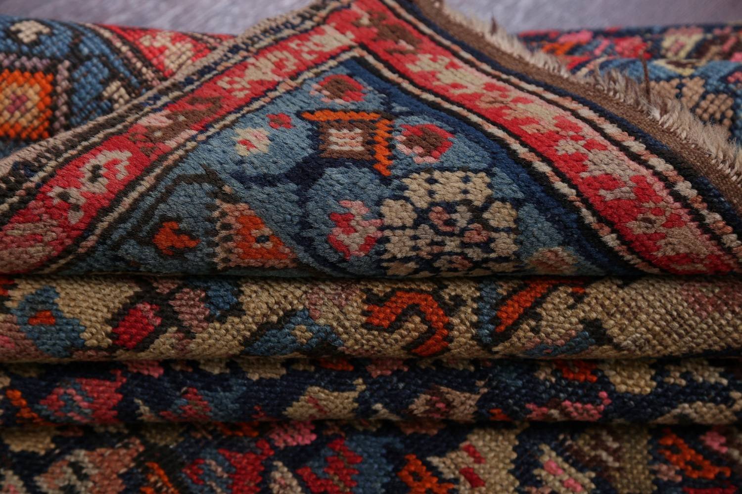 Pre-1900 Karabakh Bote Russian Oriental Hand-Knotted 5x16 Runner Rug image 18