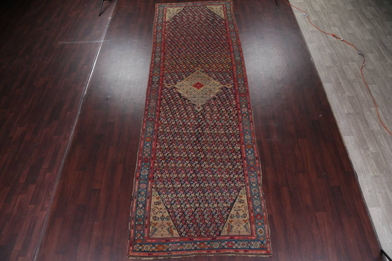 Pre-1900 Karabakh Bote Russian Oriental Hand-Knotted 5x16 Runner Rug image 2