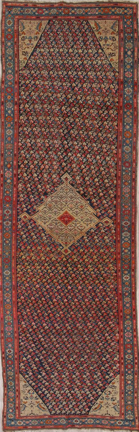 Pre-1900 Karabakh Bote Russian Oriental Hand-Knotted 5x16 Runner Rug image 1