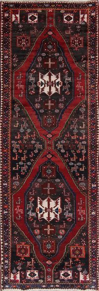 Geometric Tribal Zanjan Persian Hand-Knotted 4x11 Wool Runner Rug